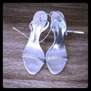 Guiseppe Zanotti silver glitter heels